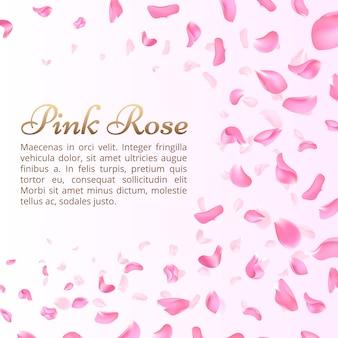 ピンクのバラや桜の花びらが落ちる。エレガントなロマンチックな背景