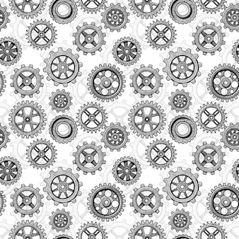 レトロなスケッチメカニカルギアシームレスパターン。