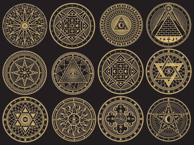 黄金の謎、魔術、オカルト、錬金術、神秘的な難解なシンボル