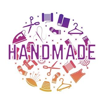 縫製、裁縫のアイコンと手作りのバナー