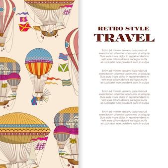 ビンテージの明るい熱気球と旅行バナー