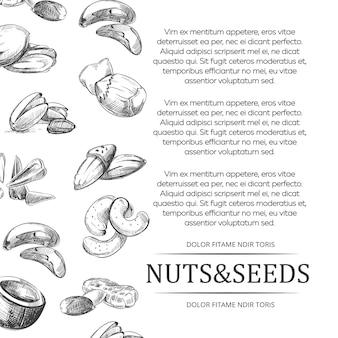 ナッツと種子のバナーまたはポスター