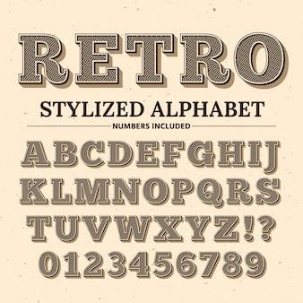 Старинные типографии шрифт. декоративный ретро алфавит. старые буквы и цифры в западном стиле.