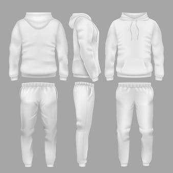 スポーツズボン付きの白いフード付きスウェットシャツ。アクティブスポーツウェアパーカーとズボンのテンプレート。