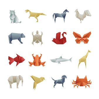 Оригами бумажные животные азиатские креатив вектор искусства