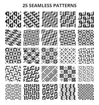 モノクロのシームレスな幾何学模様。抽象的なフラクタル幾何学線ベクトル繰り返しボーダー