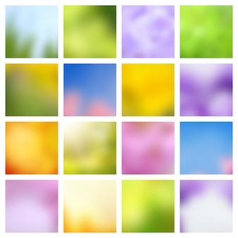 抽象的な自然春と夏の緑と青のぼやけたベクトルの背景