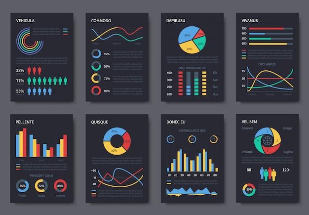 プレゼンテーション用の多目的ビジネスインフォグラフィックテンプレート。ダークページのチャート、ダイアグラム、インフォグラフィック要素