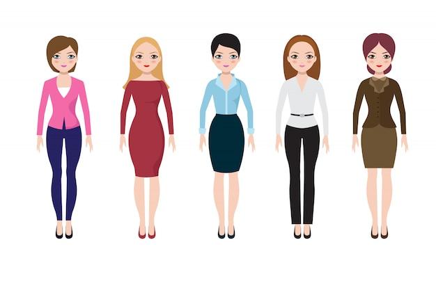 Молодая женщина, одетая в повседневные европейские костюмы. взрослые деловые женщины в блузке, юбке и брюках векторный набор