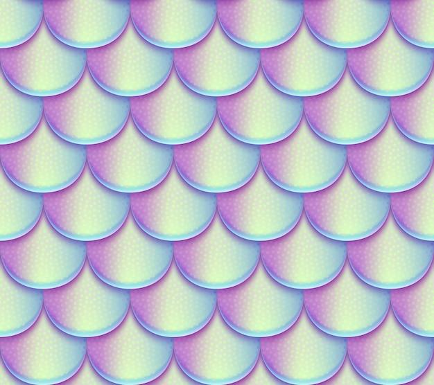 人魚の尾スケールベクターのシームレスパターン。ホログラフィックの鮮やかな魚の質感。人魚のテクスチャ背景スケール魚の皮の図