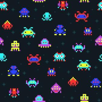 かわいいピクセルロボット、宇宙侵略者レトロなビデオコンピューターゲームシームレスパターン。ピクセルモンスタースペース、コミック漫画のアーケードのピクセルイラストで着色