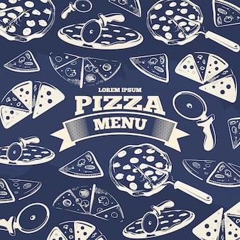 Дизайн обложки меню винтажной пиццы