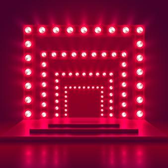 光のフレームの装飾とレトロなショーステージ。ゲーム勝者のカジノのベクトルの背景。輝きのカジノ表彰台イラストの照明
