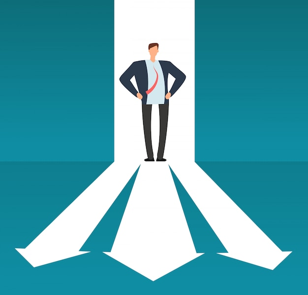 Бизнесмен смотря тропу с много направлений. успешный выбор бизнеса и инвестиционный риск вектор концепции