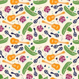 カラフルなスケッチのメキシコのシンボルのシームレスパターン
