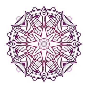 カラフルなマンダラベクトルデザイン。アジアの、韓国の、東洋の花曼荼羅