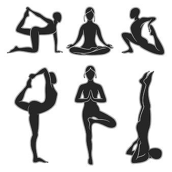 Популярный набор силуэтов йоги пилатес