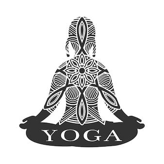 瞑想の女性のシルエット。ヨガスタジオのロゴのベクトル