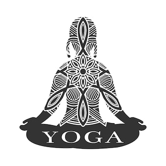 Медитация женский силуэт. йога студия логотип вектор