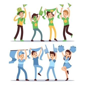 Веселые спортивные забавные команды. группа, крича, поддерживая людей векторный набор. забавный футбольный фанат, зритель и сторонник иллюстрации