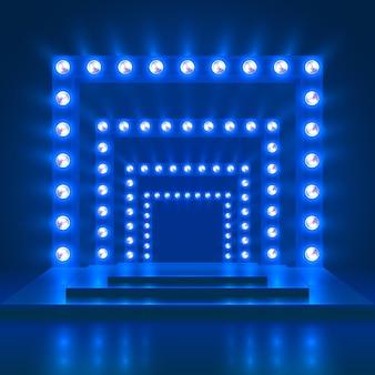 ステージと光の装飾とショーのカジノのベクトルの背景を表示します。光沢のあるダンスシアターの表彰台。光沢のあるシーンのイラストが照らされた、ダンスやコンサートのための表彰台ショー