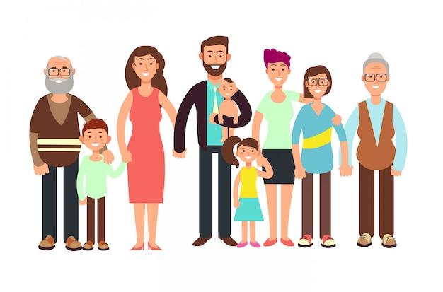 漫画笑顔幸せな家族。おじいちゃんとおばあちゃん、お父さん、お母さんと子供たちのベクトルイラスト