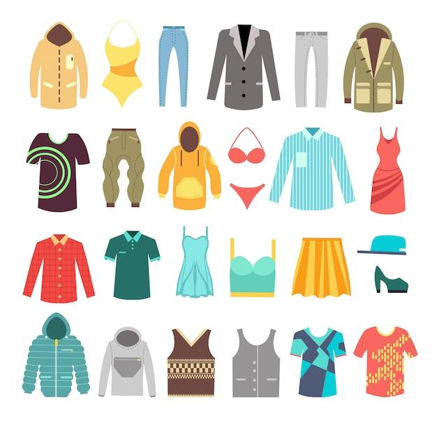 モダンなスタイリッシュな男性と女性の服、靴、アクセサリーセット