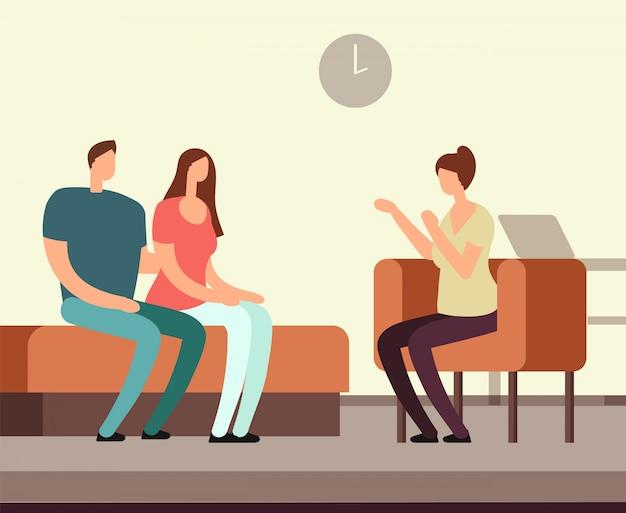 心理学者とソファカウンセリングを受けている患者。中毒精神療法ベクトルの概念