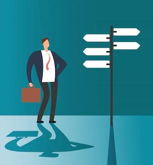 Смущенный бизнесмен думая и делая выбор на дорожном знаке. бизнес-возможности и будущее решение векторной концепции