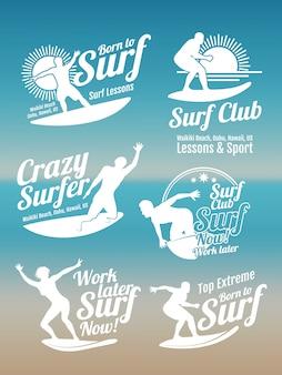 サーファー、サーフボード、海の波と白の創造的な夏のサーフィンスポーツベクトルロゴコレクション