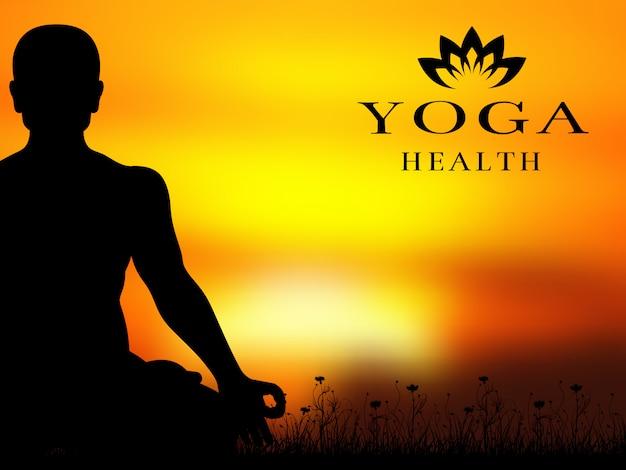 ヨガ瞑想シルエットベクトルの背景