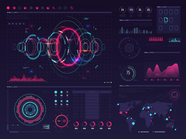 未来的なハッドデジタルタッチスクリーンディスプレイビジュアルデータグラフィック、パネルおよびチャートベクトルインフォグラフィックテンプレート。チャートデータとデジタル表示のイラスト、インターフェースの将来のビジュアルパネル
