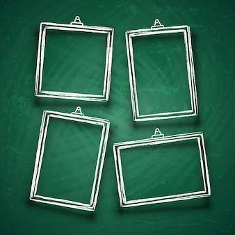 Мел милые фоторамки. абстрактные рамки рисунка границы на зеленой доске векторный набор