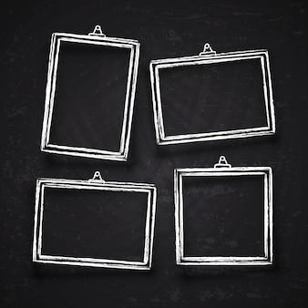 Старые руки нарисованные фоторамки мела, белые старинные изображения границы с тенями, изолированные на доске векторный набор. мел рамка на доске, рисунок рамки для иллюстрации меню