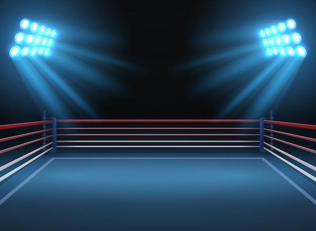 Пустая спортивная арена. боксерский ринг драматического спорта векторный фон. спортивные соревнования по рингу и боксу