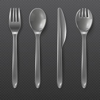 リアルな透明プラスチック製カトラリー。スプーン、フォーク、ナイフが分離されました。使い捨て食器ベクトルを設定します。スプーンとフォーク、ナイフプラスチックダイニングイラスト