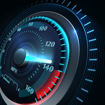 未来的なスポーツカーのスピードメーター。抽象的なスピードレースベクトル。スピードメーターとスピードカーの機器、高速および電源の図