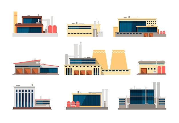 Промышленные фабрики, электростанции и складские здания. промышленное строительство векторных плоских иконок