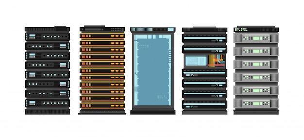 Современные плоские серверные стойки. компьютерные процессорные серверы для серверной комнаты. векторный набор изолированных