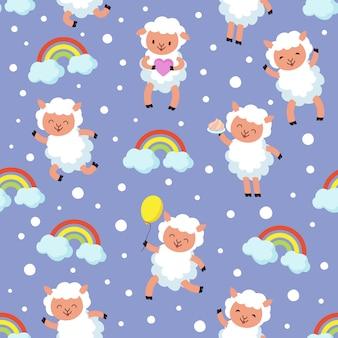 白い子羊、小さな羊の赤ちゃん。甘い夢ベクトルシームレスパターン