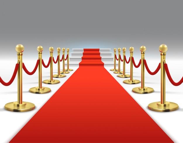 Голливудская роскошь и элегантный красный ковер с лестницами в перспективе векторные иллюстрации.