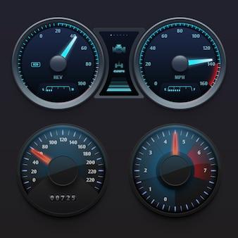 ダイヤルメーター付きのリアルな車のダッシュボードスピードメーター。高速シンボルベクトルを設定します。スピードメーターパネルとダッシュボードのイラスト