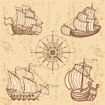 Коллекция старинных кораблей. античный туристический катер