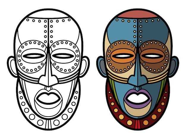 Раскраска мексиканские индийские ацтекские маски