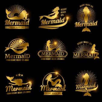 ゴールデンマーメイドラベル。光沢のあるリゾートビーチスパのロゴデザイン
