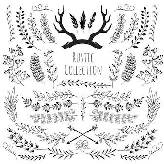 手描き下ろしビンテージ枝、花輪枠フレーム角、羽、矢印。素朴な花の装飾的な結婚式のベクトル