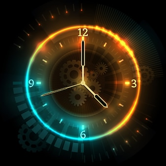 ネオン効果を備えたデジタル未来時計。時計と時間抽象的なベクトルの概念。時間ネオン時計、抽象的なイラストを見る