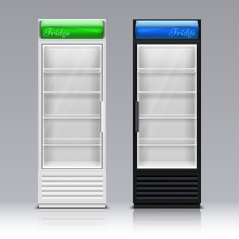 ドリンクベクトルテンプレートのスーパーマーケット冷凍庫機器