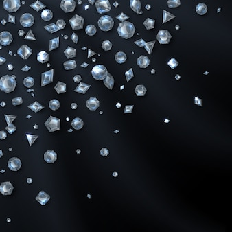 光沢のある高価なダイヤモンドの宝石は黒に分離されました。