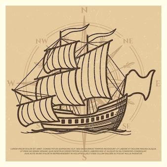 Гранж фон путешествия с античным кораблем